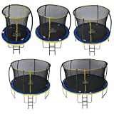 Zero Gravity Kinder Ultima 4 with Safety Enclosure Netting and Ladder High Spec Trampoline, Blue/Yellow, 366cm